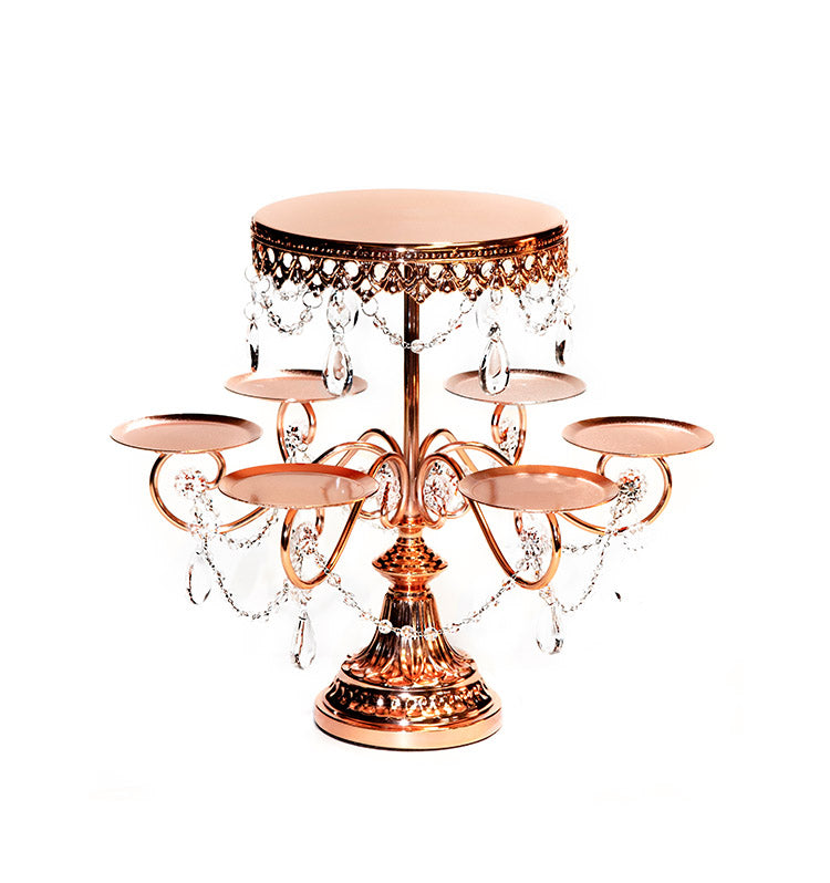 shiny metallic rose gold tiered cupcake dessert stand by opulent treasures