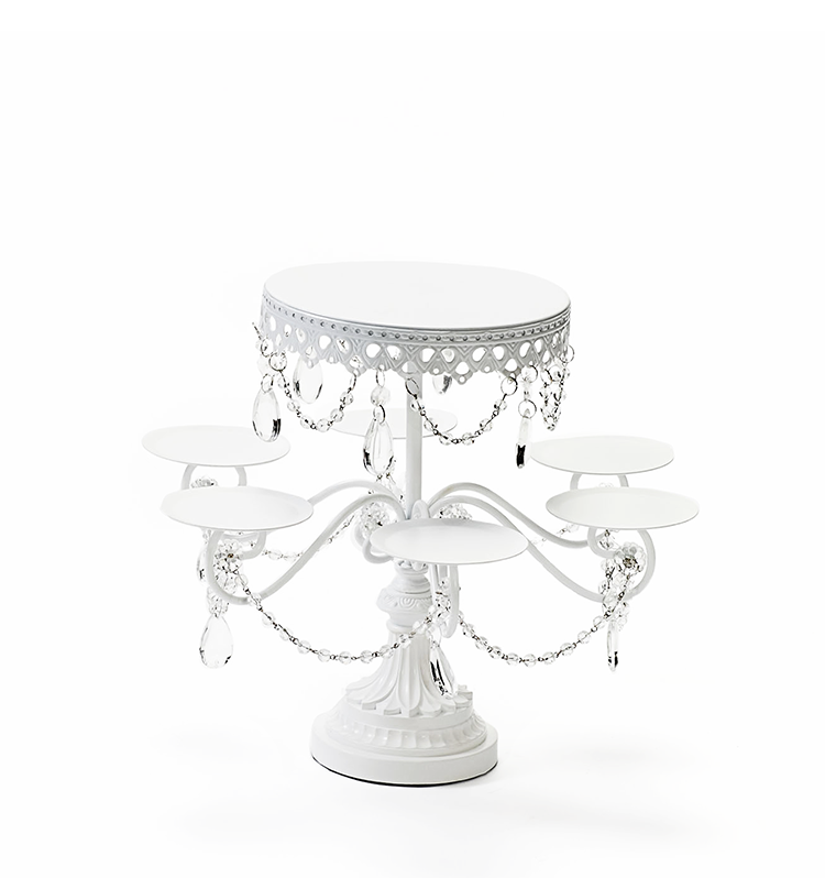 white multi tier chandelier dessert stand by opulent treasures