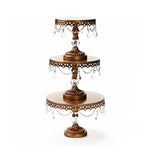 antique gold cake stand set of 3 with clear glass accents