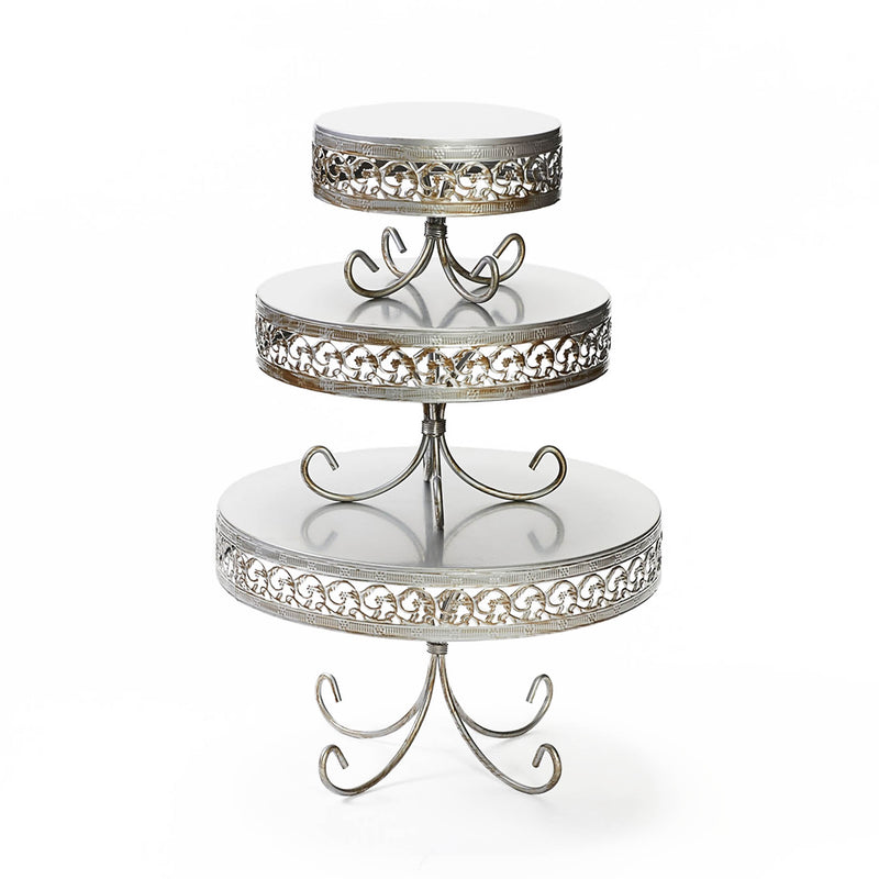 antique silver round cake stand set with decorative border and loopy leg base