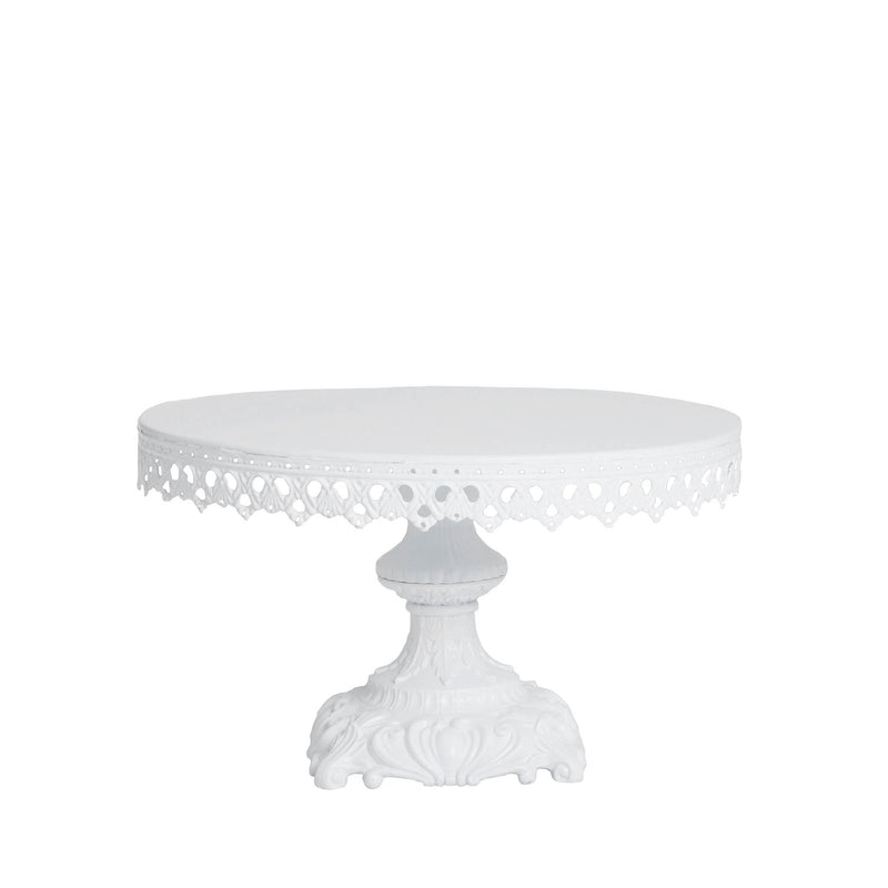 white baroque style metal cake stand