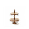 gold 2 tiered dessert stand serving display with chandelier accents