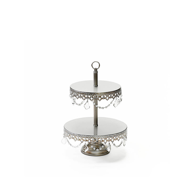 antique silver 2 tiered metal dessert stand serving display with chandelier accents