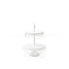 white metal 2 tiered dessert stand serving display with chandelier accents