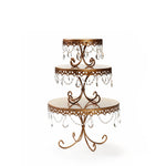 decorative cake stand set in antique gold with chandelier accents for wedding birthday cake