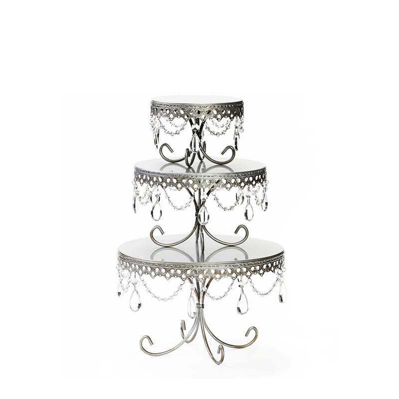 decorative cake stand set in antique silver with chandelier accents for wedding birthday cake