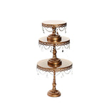 opulent treasures chandelier cake stand set of 3 sizes in antique gold