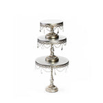 opulent treasures chandelier cake stand set of 3 sizes in antique silver
