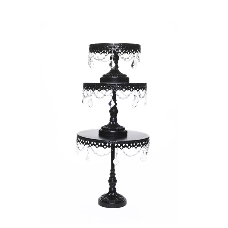 black metal cake stand set of 3 with chandelier accents by opulent treasures