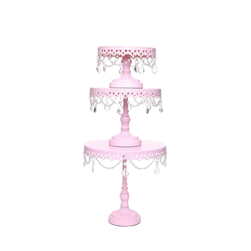 pink metal cake stand set of 3 with chandelier accents by opulent treasures
