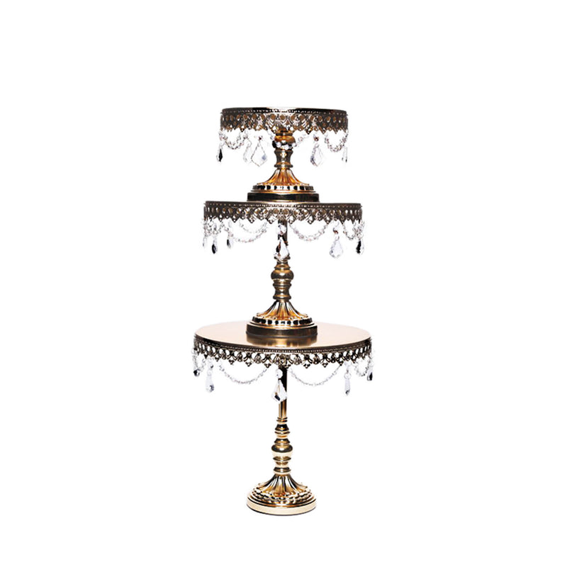 metallic gold metal cake stand set of 3 with chandelier accents by opulent treasures