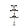 metallic shiny silver metal cake stand set of 3 with chandelier accents by opulent treasures