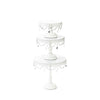 white metal wedding cake stand set of 3 with chandelier accents by opulent treasures