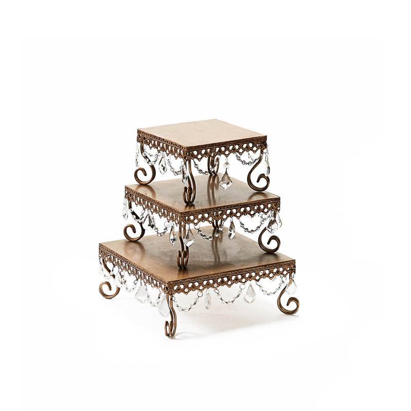 square metal gold chandelier cake stand set for dessert sweet tables