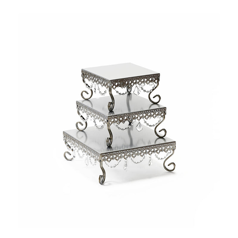 square metal silver chandelier cake stand set of 3 for dessert sweet tables