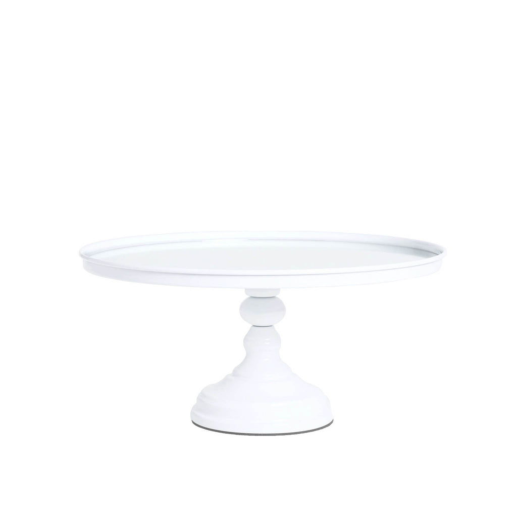 "white mirrored round 12"" pedestal metal cake stand"