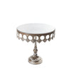 antique silver crown metal cake stand with pedestal base