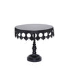 black crown metal cake stand with pedestal base