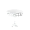 white crown metal cake stand with pedestal base