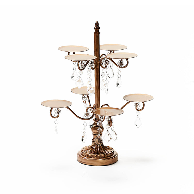 cupcake display stand in gold metal with clear chandelier accents