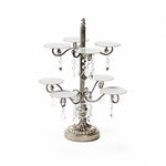 wedding dessert table cupcake display stand in antique silver metal with clear chandelier accents