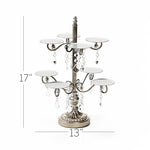 antique silver cupcake display stand  metal with clear chandelier accents
