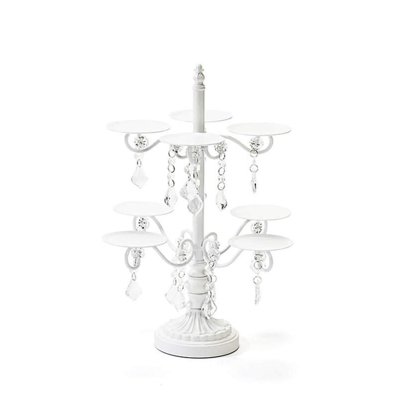 cupcake display stand in white metal with clear chandelier accents