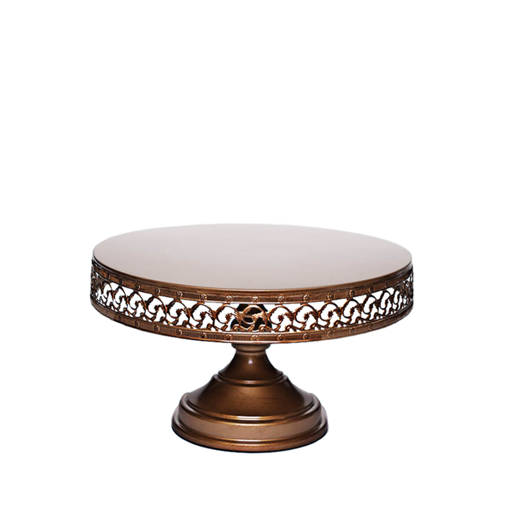 antique gold round pedestal cake stand