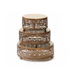jeweled round cake set in antique gold metal cake stands with ball feet base