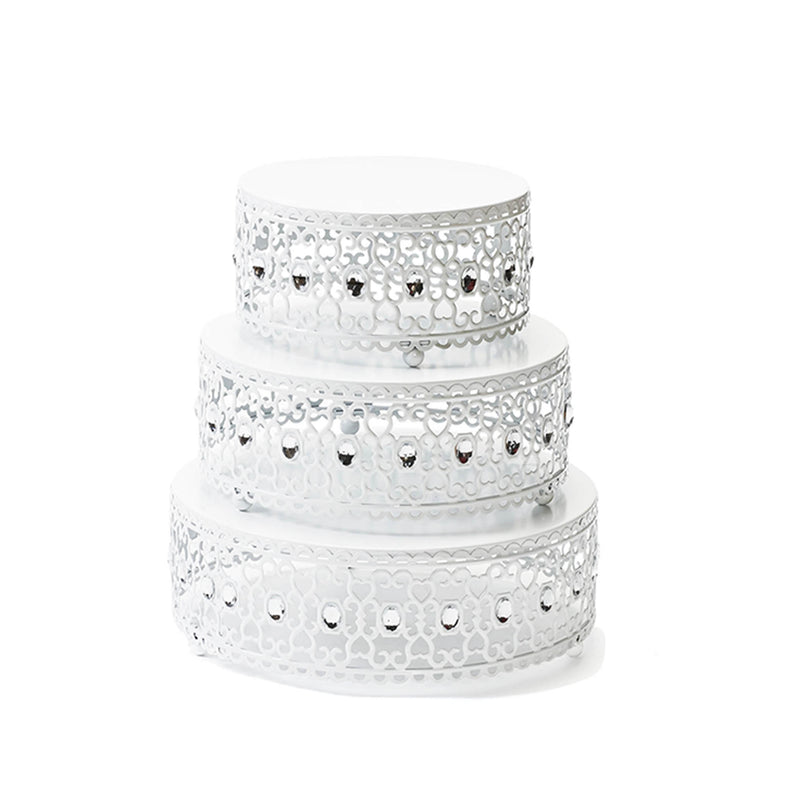 white round cake stand set with clear jewels accent
