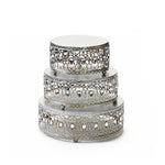 jeweled cake set in antique silver  metal cake stands with ball feet base