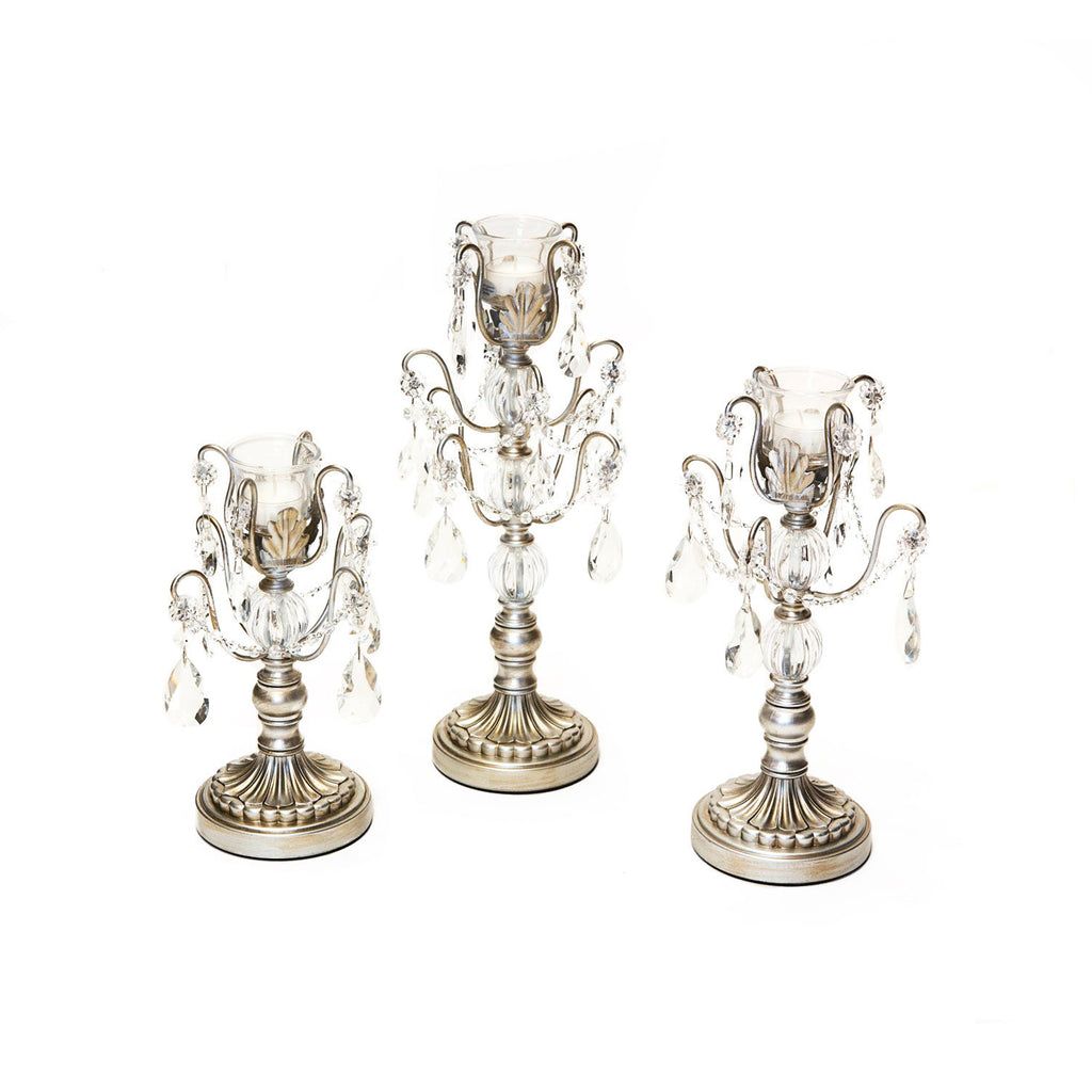 opulent treasures chandelier candelabra  set of 3 in antique silver