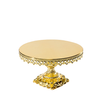 shiny metallic gold baroque style metal cake stand