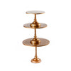 simple modern metal cake stand set in gold