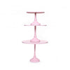 simple modern metal round cake stand set in pink