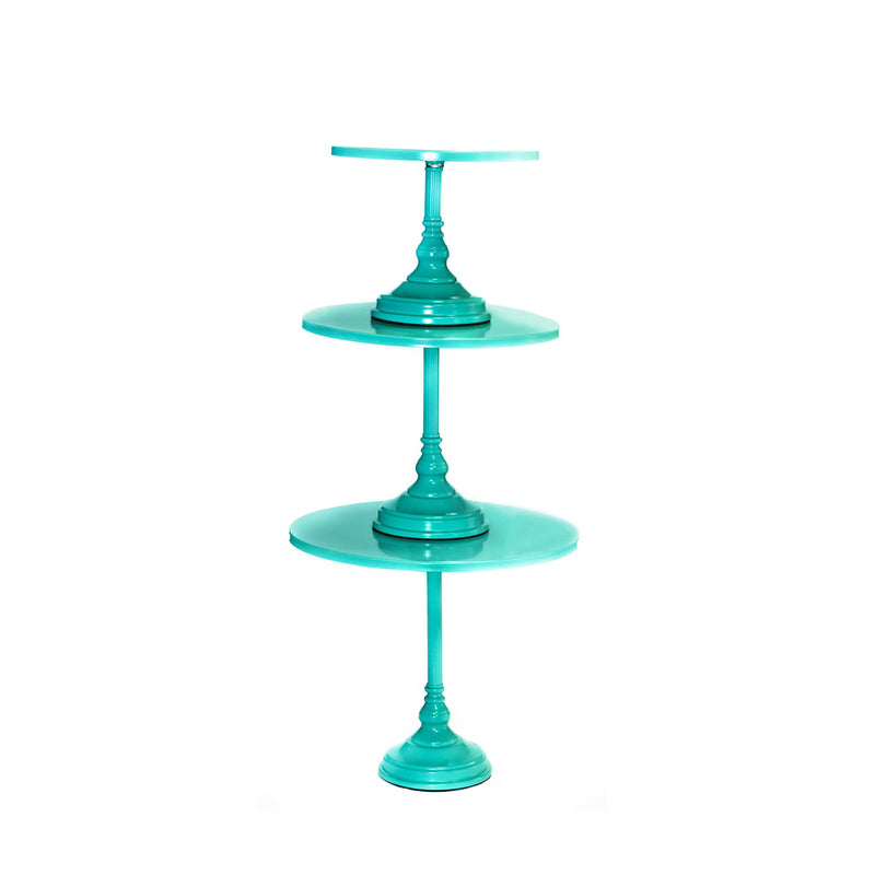 tiffany blue modern metal cake stand set