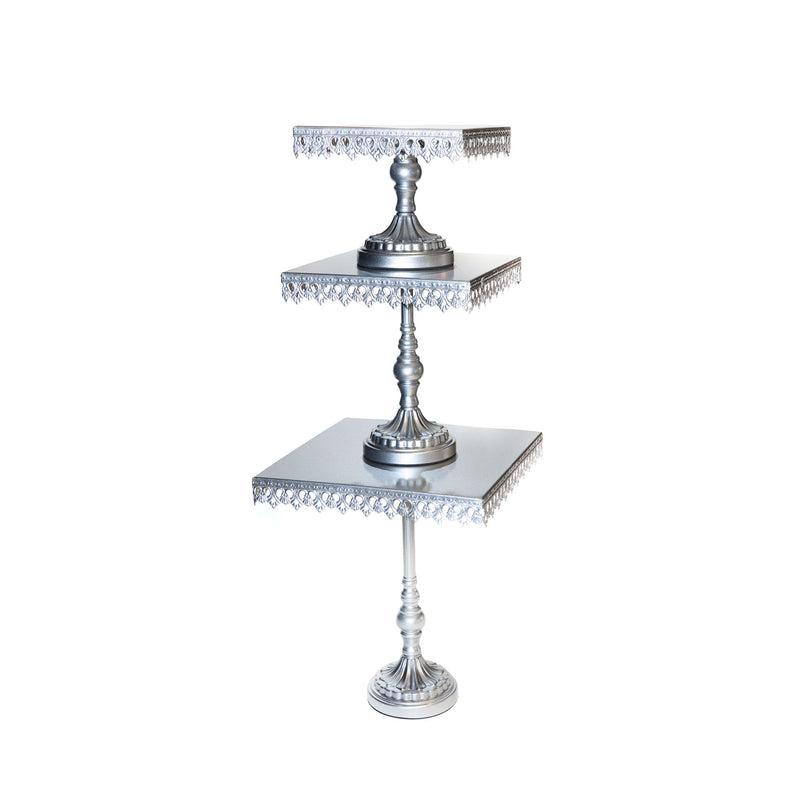 square silver metal cake stand set with pedestal base