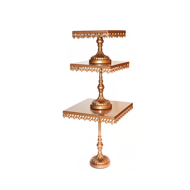 square gold decorative metal cake stand set with pedestal base