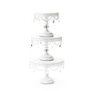 white metal cake stand set of 3 with clear chandelier accents