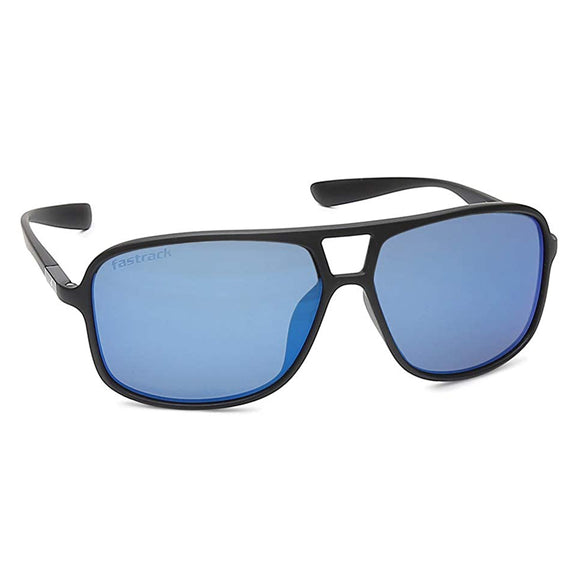 Fastrack C098BU2 Rectangle Sunglasses Size - 61 Black / Blue