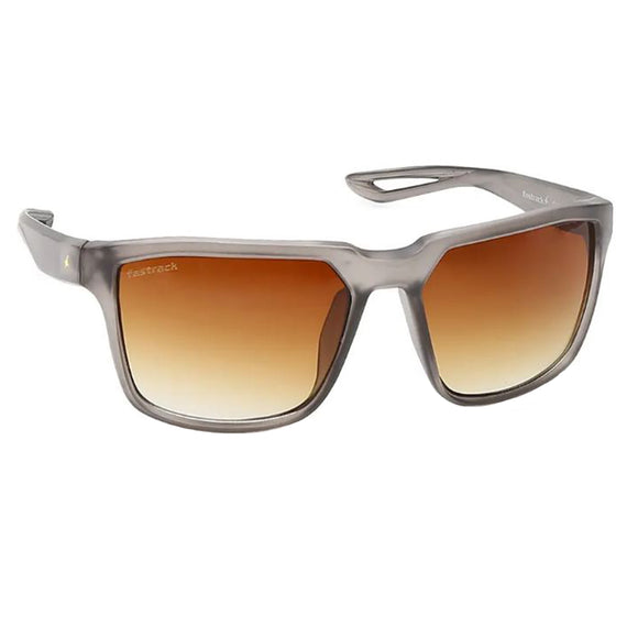 Fastrack P409BR6 Square Sunglasses Size - 55 Grey with Brown