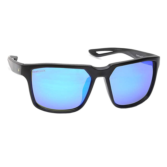 Fastrack P409BU1 Square Sunglasses Size - 55 Black / Blue