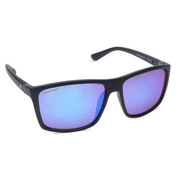 Fastrack P410BU3 Square Sunglasses Size - 58 Black / Blue
