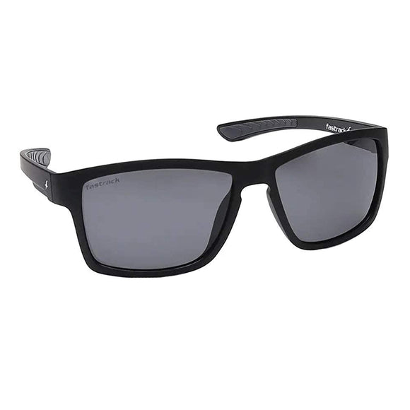 Fastrack P420BK3P Square Polarized Sunglasses Size - 58 Black / Black