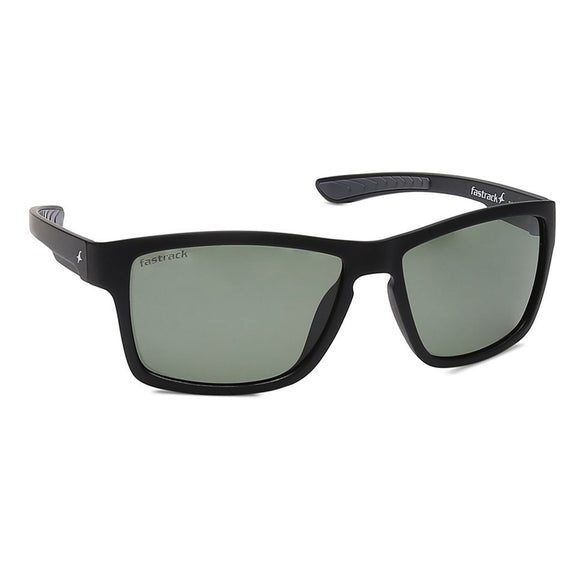 Fastrack P420GR4P Square Polarized Sunglasses Size - 58 Black / Green