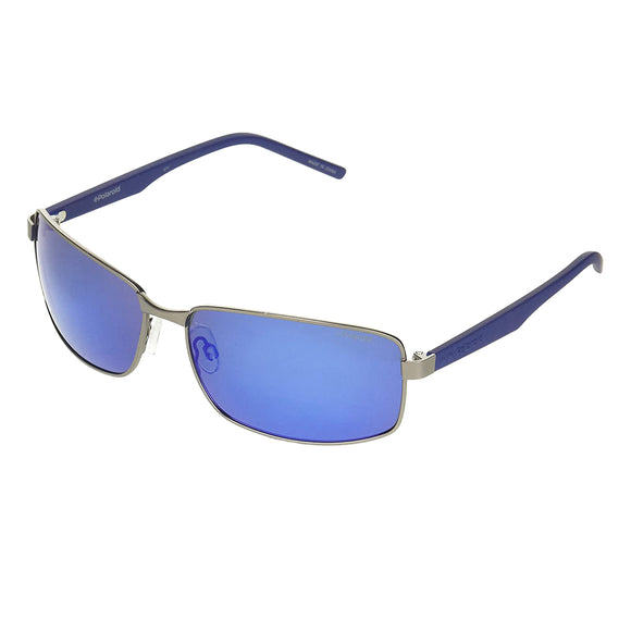 Polaroid PLD 2045S R80 5X Rectangle Sunglasses Size - 63 Gunmetal / Blue Mirror