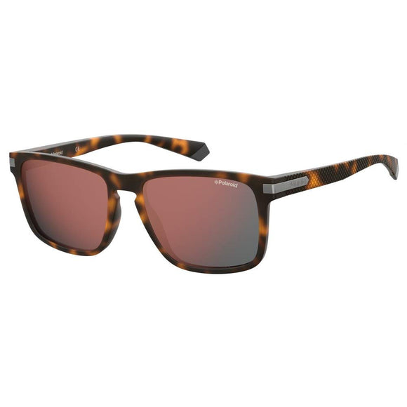 Polaroid PLD-2088S-N9P-OZ-55 Rectangle Sunglasses Size - 55 Tortoise Brown / Red Mirror
