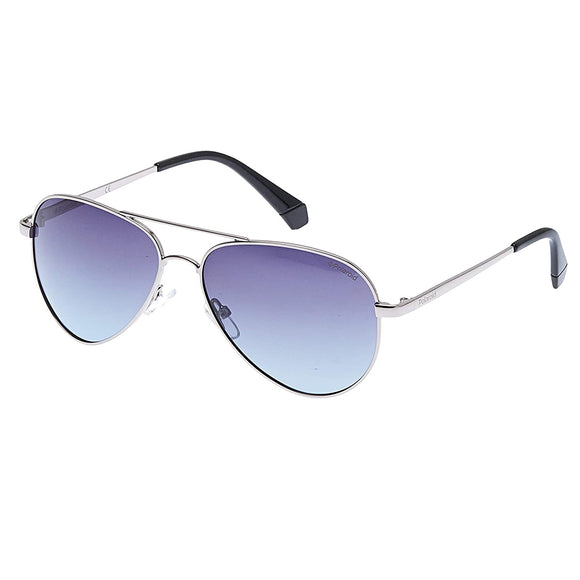 Polaroid PLD-6012/N/NEW-6LB-WJ-56 Aviator Sunglasses Size -56 Silver / Blue