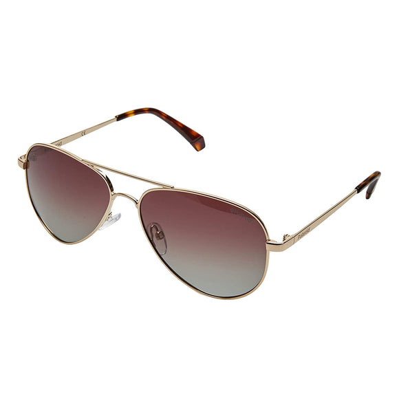 Polaroid PLD-6012/N/NEW-J5G-LA-56 Aviator Sunglasses Size -56 Gold / Brown