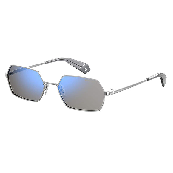 Polaroid PLD-6068S-427-5X-56 Hexagon Sunglasses Size - 56 Silver / Blue Mirror